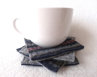 Coasters BLUE GRAY MULTI Colored Wool Felt Striped Coasters / Upcycled Mug Rugs / Felted Sweater Wool Coasters / Eco-friendly Home Decor
