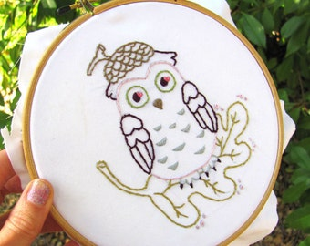 Acorn Owl - PDF Hand Embroidery Pattern