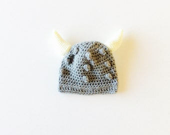 MADE TO ORDER baby Viking hat, gray/bone colors, available in sizes from 0-3 months to 24 months