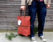 Waxed canvas bag/ carry all with  leather handles and double waxed canvas bottem COLLECTION UNISEX