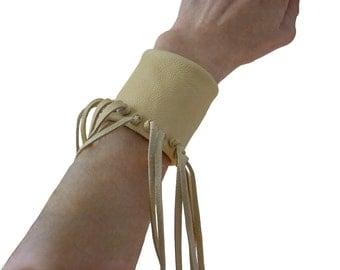 """Women Leather Fringe Cuff, Tribal Bracelet, Tribal Festival Jewelry Hippie Bracelet, Boho Cuff Bracelet, Buckskin, cream, 5.5 - 5.75"""" wrist"""