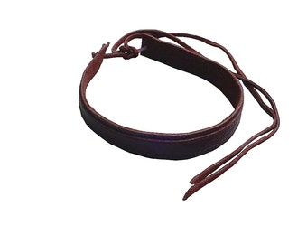 Mens Leather Choker, Oxblood, Minimalist choker, Mens Fashion, Cool mens gifts, Rustic leather choker, Brown leather choker, Tie on