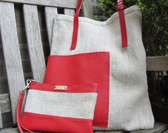 Tote bag made from an antique European GRAIN SACK in natural and red leather. Vintage burlap hemp tote bag. Vintage linen grain sack bag