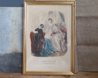 Old french framed fashion print la mode illustree 1869