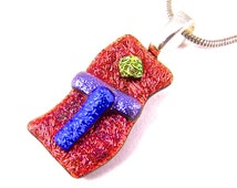 """Dichroic Pendant - Orange Copper Flame and Blue Sapphire Purple Violet Yellow Gold Crinkle Textured Dichro Fused Glass - 1"""""""
