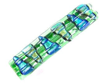 """Dichroic Barrette - Green Teal Blue Dichro Triangles over Lime Green Stained Fused Glass Chunky Fused Glass  - 2.5"""" - Small"""