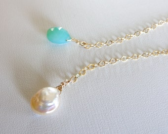 chrisoprase chalcedony and pearl gold lariat necklace