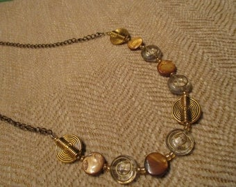 antique gold brassy necklace