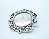 5Pcs 39mm-25mm Antique Silver Glass Tile Pendant Blanks, HG 25mm round Tray, Heavy Base Setting C8022