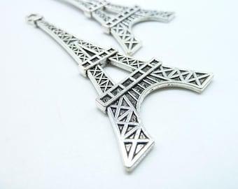5pcs 30x70mm Antique Silver Huge Flat Eiffel Tower Charm Pendant c6556