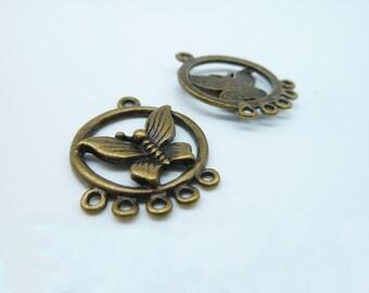 10pcs 17x23mm Antique Bronze Filigree Butterfly Charm Pendant C2073