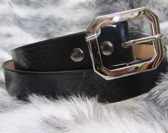 Customizable 1 3/4 inch, Large Celtic Square Knot Leather Work, Casual, or Kilt Belt
