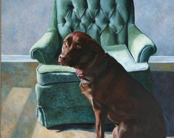 A Giclee Print of a Large Original Art Oil Painting of a Dog