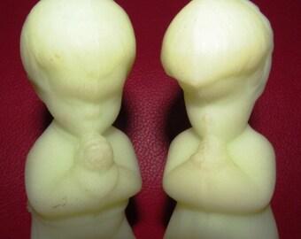 Vintage Fenton Milky Vaseline Glass Praying Boy and Girl