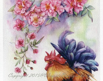 PRINT – Rose & Rooster  Watercolor painting 7.5 x 10.3""