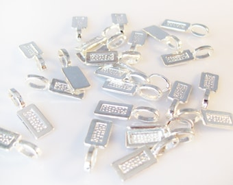 50 Tag Shaped Silver Plated Glue On Bails