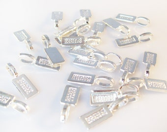 1000 Tag Shaped Silver Plated Glue On Bails 21mm x 7mm