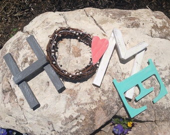 Home Wood Letters, Wood Letters, Mantel Decor, Wreath, Rustic Home Decor, Home Wood Sign, Gray Coral and Aqua Home Decor