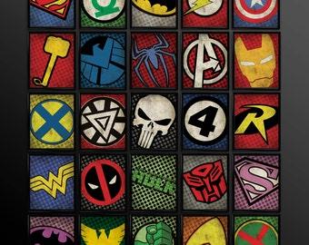 Set of 4 Superhero Kids Wall Art Decor Nursery Superman Comic Book Superheroes