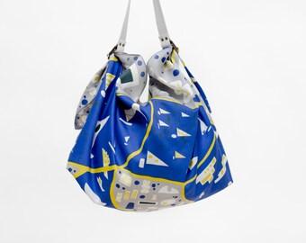 Stockholm Blue Furoshiki & White Leather Carry Strap Set