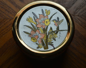 Chokin Hummingbird and Daffodil Trinket Box
