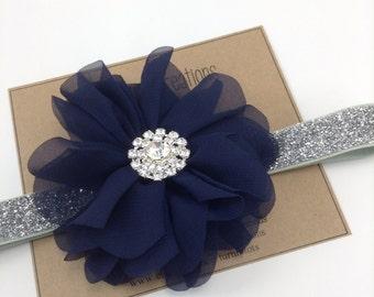 Navy & Silver Headband Blue Ballerina Flower Headband Glitter Wedding Flower Girl Headband Rhinestone