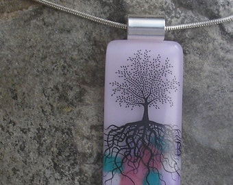 Pink Tree of Life Necklace Fused Glass Tree Pendant