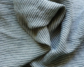 Linen fabric  with  vertical stripes-pure linen--natural--washed
