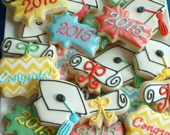Graduation cookies - 1 dozen graduation cookies - Decorated cookie favors
