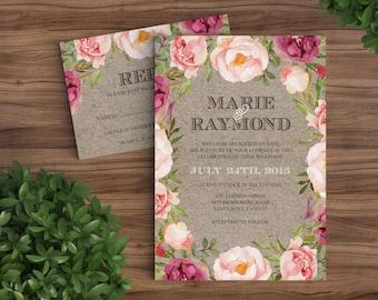 Wedding Invitation Prints - Rustic Bohemian Floral - Watercolor, Flowers, Vintage, Maroon, Pink, Kraft, Brown, Summer, Winter DIY (1094)