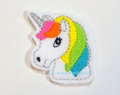 Embroidered Feltie Applique-Rainbow Unicorn Felties- Unicorn Felt Applique - Unicorn Embroidered Felt Stitches-Brights UNCUT (Set of 4)