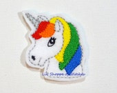 Embroidered Feltie Applique-Rainbow Unicorn Felties- Unicorn Felt Applique - Unicorn Embroidered Felt Stitches-Primary UNCUT (Set of 4)
