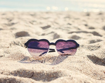 Beach Photography, Heart Sunglasses, Fashion Photography, Heart Shaped Sunglasses, Summer Print, Beach Print, Sunglasses Art, Girly Art