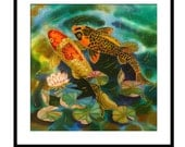 Acrylic Painting GICLEE Print Of Original SILK Painting Fine Art Print  Koi Fish painting Illustration