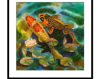 Acrylic Painting GICLEE Print Of Original SILK Painting Fine Art Print  Koi Fish painting Illustration