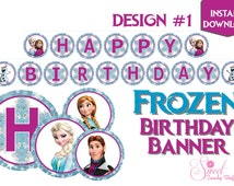 FROZEN | PRINTABLE Birthday Banner | Instant Download | Paper Party Supplies