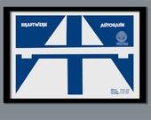 Kraftwerk Poster. Autobahn promo poster. A2 size. 70s rock poster. Promo poster. Album cover art. Classic rock. Kraftwerk print