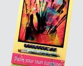 REDUCED Paint Your Own Sunshine Wood Plaque, Altered Photograph, Decorative Wood Trim, Paintbrushes, Splatter Paint