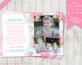 Sweet and Shabby - A Shabby Chic Birthday Thank You Card - Light Blue and Pink  with lace and polka dots - vintage inspired