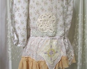 Shabby Cotton Blouse, lace embellished, cottage shabby and chic, altered clothing, front buttons, MEDIUM