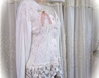 Shabby White Lace Jacket, altered clothing, refashioned clothing, tattered romantic, shabby n chic LARGE