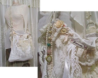 Romantic Linen Bag, handmade Victorian Shabby bag, vintage creme lace, beads buttons embellished, macrame belt strap