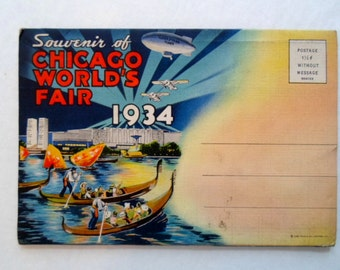Vintage Chicago Worlds Fair 1934  Souvenir Folder  Futurist Postcard Collection