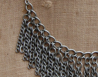 Vintage Oxidized Pewter Fringe Chain Necklace