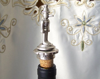Vintage Pewter Bottle Stopper Pinocchio Figurine Cork Bottle Stopper Barware Man Cave 1970s