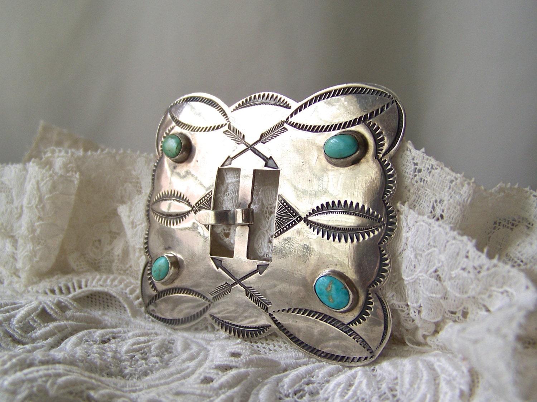 Vintage Turquoise Silver Belt Buckle Native American La s