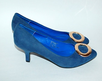 Vintage Kitten Heel Blue Suede Shoes