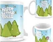 Father's Day Mug - Bob Ross Mug - Happy Little Trees