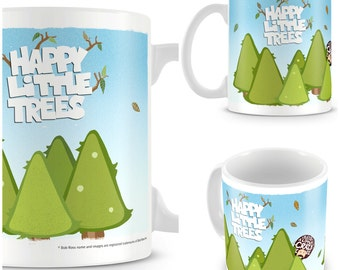 Father's Day Mug - Bob Ross Mug - Happy Little Trees