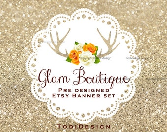 Glam Boutique- Shabby Chic Premade shop set- Glitter antler and white, yellow roses